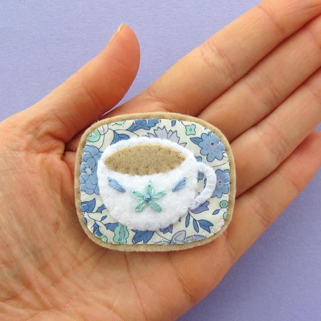 felt teacup brooch PDF sewing pattern