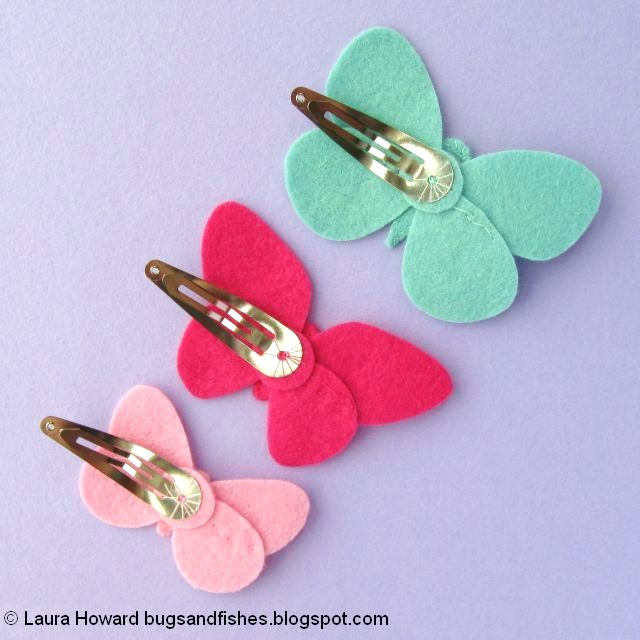 Felt Butterfly Hair Clips Tutorial: assemble the butterfly pieces