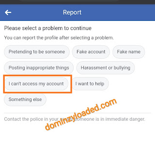 Facebook account report profile page