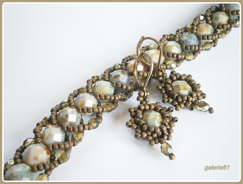 beading, bransoletka flat spiral, kolczyki - brąz, oliwkowy, zielony, beżowy