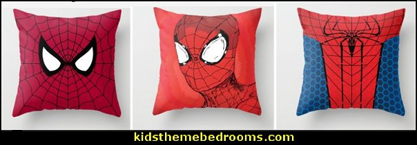RED SPIDER Throw Pillows    spiderman bedroom decorating ideas - Spiderman rooms - spiderman room decor -  Spiderman Bedroom Decor -  spiderman Bedroom Ideas - superhero bedrooms - Spider web curtains  - spiderweb bedding - Marvel Heroes wall murals -  spiderman bedroom decor - Avengers wallpaper murals -  superhero theme bedrooms - Superhero bedroom ideas - boys bedrooms