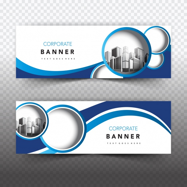 Blue and white business banner Free Vector