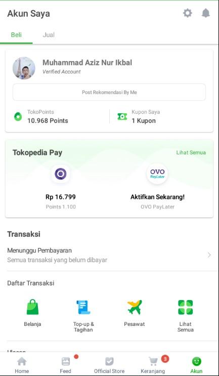 Fitur Terbaru OVO PayLater di Menu Akun Aplikasi Tokopedia.