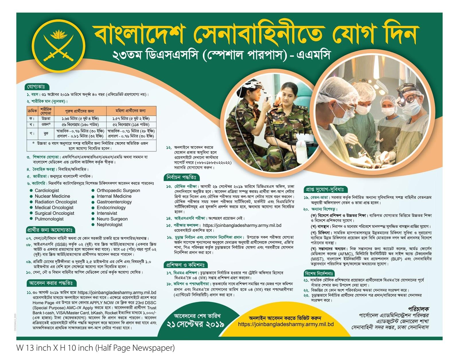 23rd DSSC AMC job circular