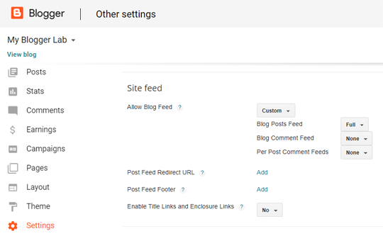 Setting RSS Feeds Blogger