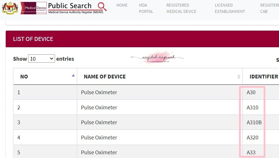 jenama oximeter mda approved by kkm harga