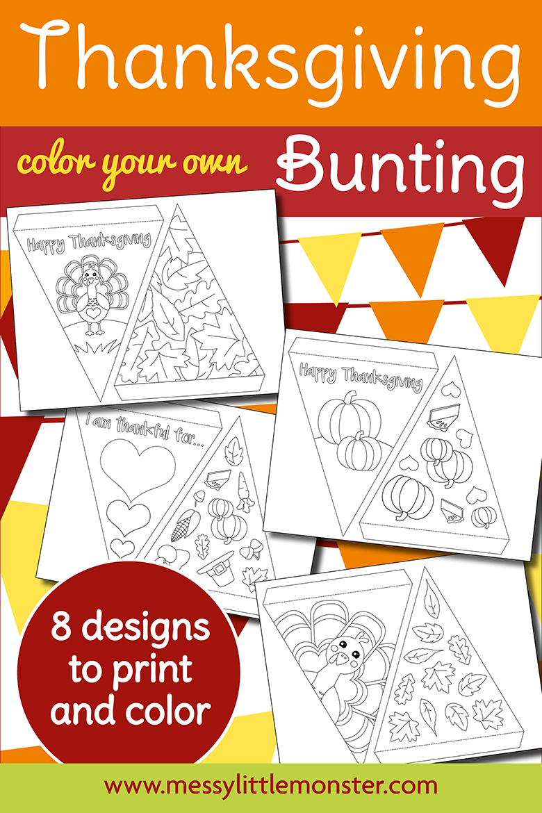 Thanksgiving Paper Bunting - printable bunting template to colour!