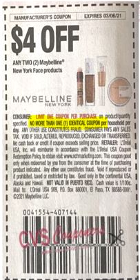 """$4.00/2-Maybelline New York Face products Coupon from """"RetailMeNot"""" insert week of 2/7/21."""