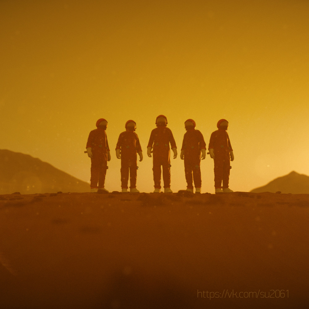 First Russian cosmonauts on Mars by Alexander Ovcharenko for CCCP-2061 contest