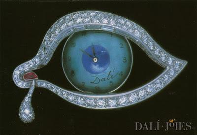 Postal, Dalí, museo, joya, ojo, tiempo