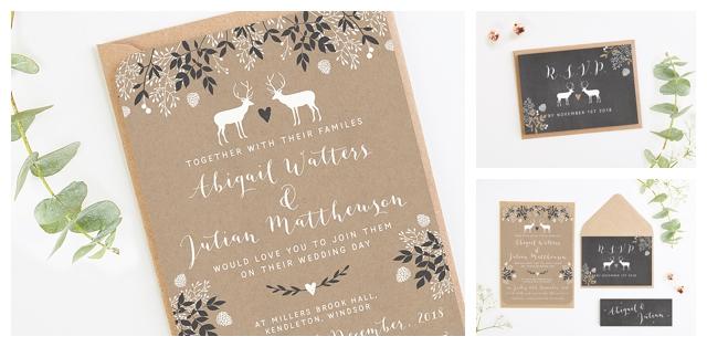 Chalk Board Stag Wedding Invitation Bundle By Norma Dorothy