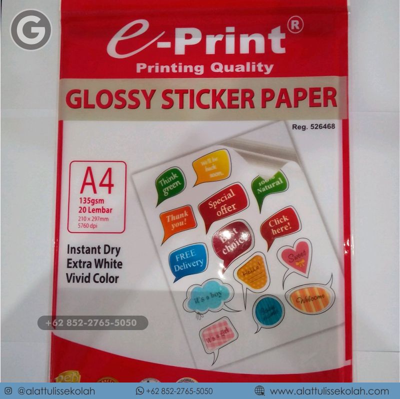 jual kertas stiker glossy a4   +62 852-2765-5050