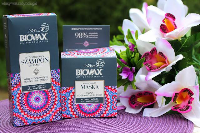 L`biotica, Biovax, Limited Collection, Aktywny węgiel i acai amazońskie  seria regenerująca do włosów pozbawionych blasku i objętości