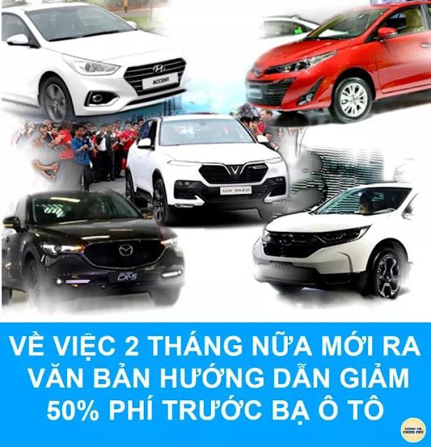 Thông tin về việc giảm phí trước bạ xe ô tô