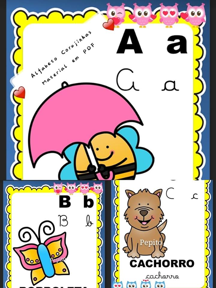 Alfabeto Ilustrado Corujinhas 4 Tipos De Letras