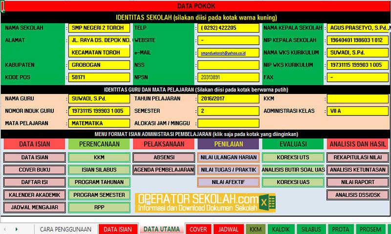 Free Download Aplikasi Administrasi Guru Dalam Format Excel Terbaru