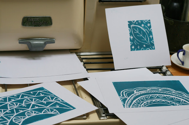 blue lino cut prints