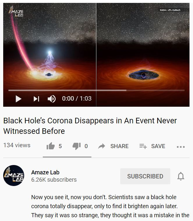 The corona of the black hole disappears during an event that has never been observed before.