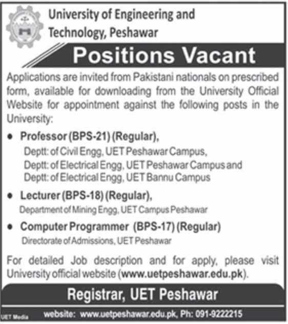 Jobs in University of Engineering & Technology, Peshawar