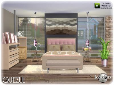 Becotine bedroom Quezul спальня для The Sims 4 двуспальная кровать. подушки кровати. одеяло кровать. Loveseat. конец таблицы тумба. коврики. потолочный светильник. настенные росписи. столы картин. завод. Современность и комфорт. Автор: jomsims