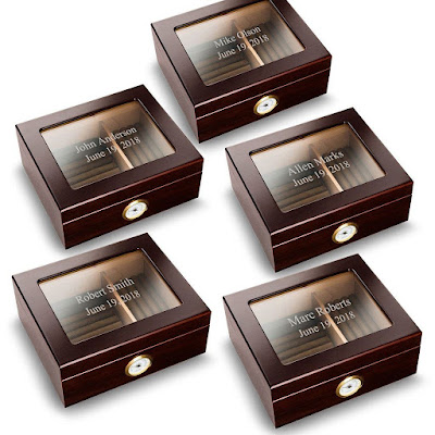 K'Mich Weddings-wedding-planning-gift-ideas-for-groomsmen-personalized-mahogany-humidors-accessories-set-men's ware house
