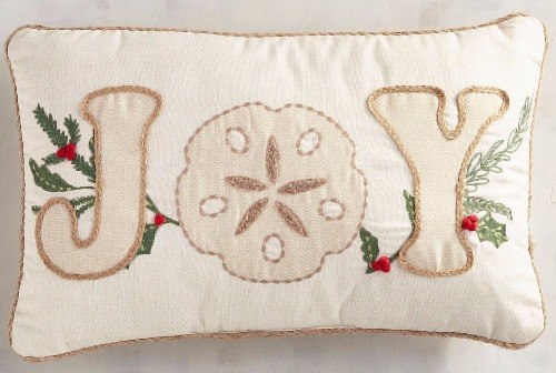 Christmas Joy Pillow with a Coastal Theme