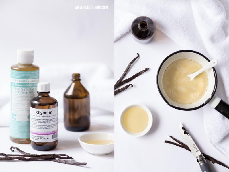 Badeschaum selber machen - Zutaten für DIY Badeschaum: Naturseife, Glycerin, Mandelöl
