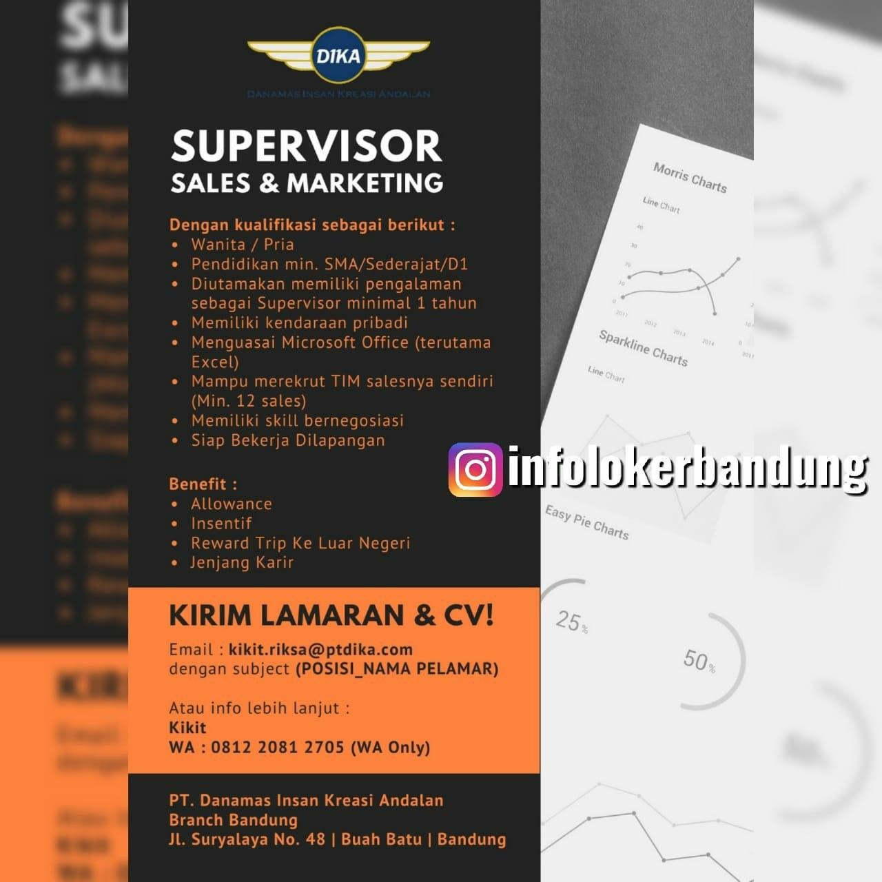 Lowongan Kerja Supervisor Sales & Marketing PT. Dika Bandung Februari 2020