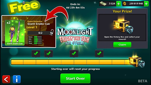 Moonlight Win Streak Free Cue And Ring 8bp