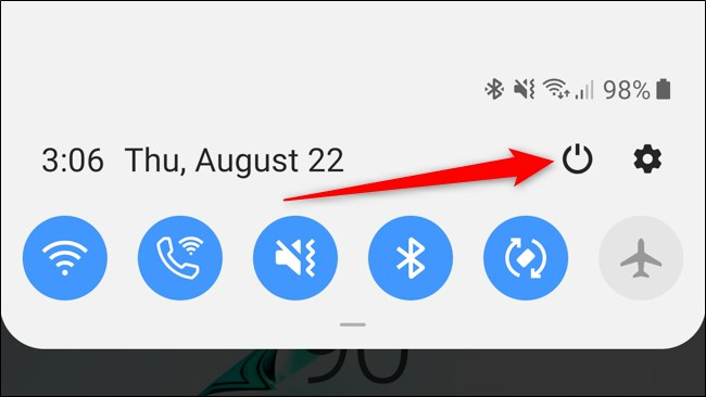 Samsung Galaxy Note 10 Plus Notification Shade زر الطاقة