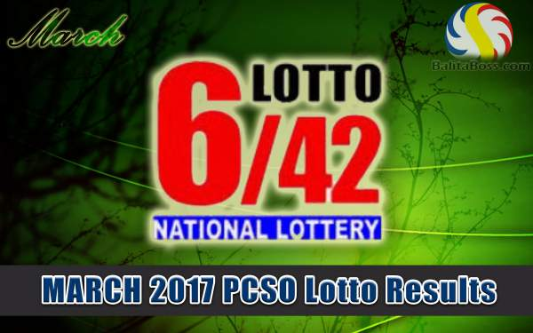 Results: March 2017 Lotto 6/42 PCSO Lotto