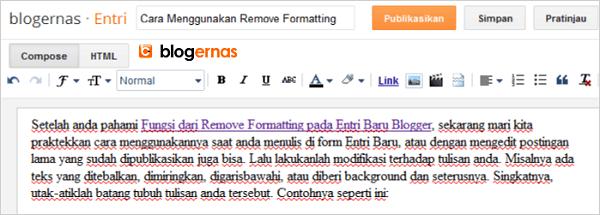 Cara Menggunakan Remove Formatting pada Entri Baru