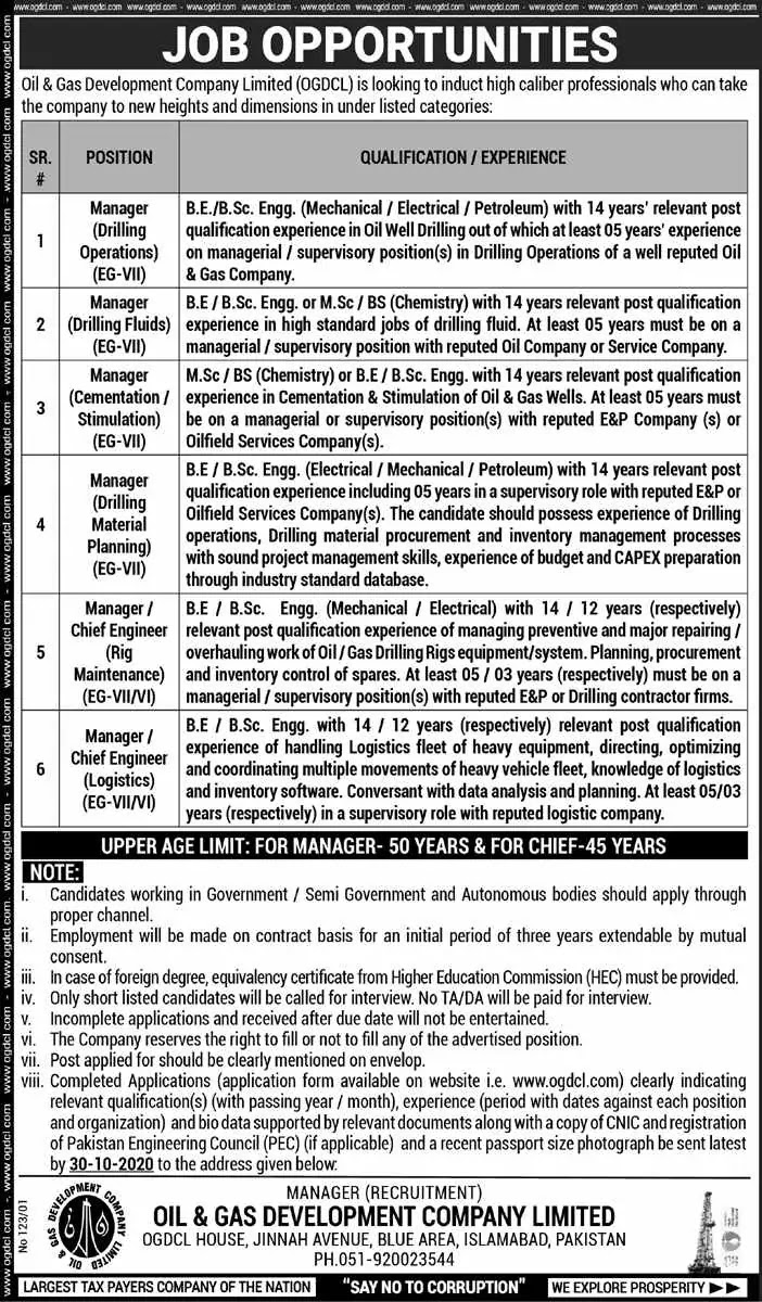 Oil & Gas Development Company Limited OGDCL Jobs 2020