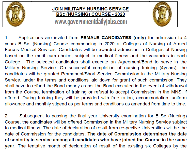 Indian Army B.Sc Nursing Course 2020