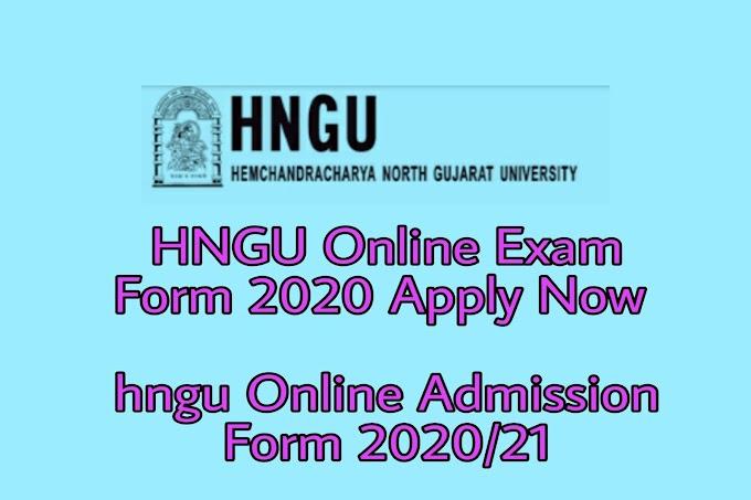 HNGU Online Exam Form 2020  | hngu Online Admission Form 2020/21