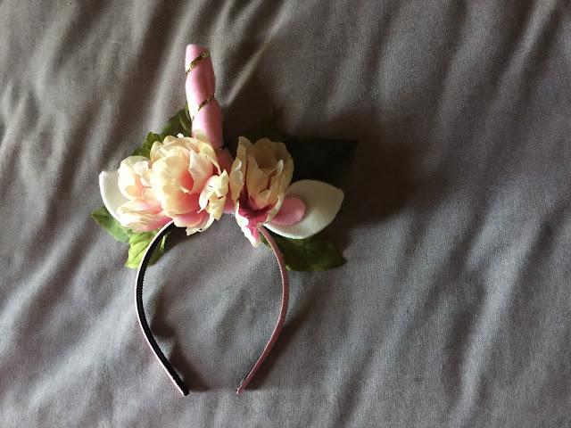 unicorn headband with flowers