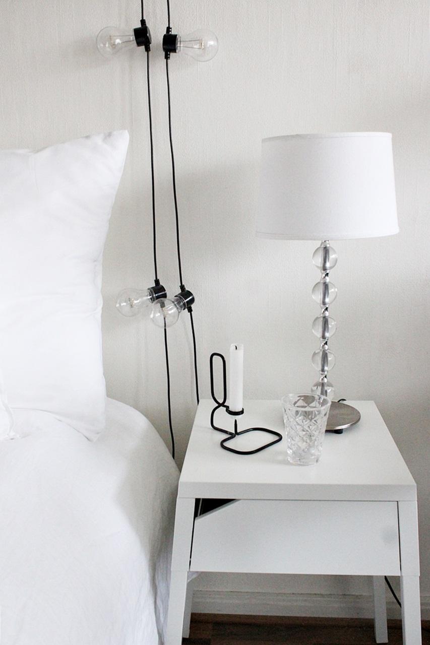 pentik pallolampinjalka black and white interior makuuhuone bedroom decor ikea selje night table granit lights hay candleholder tinek tinekhome