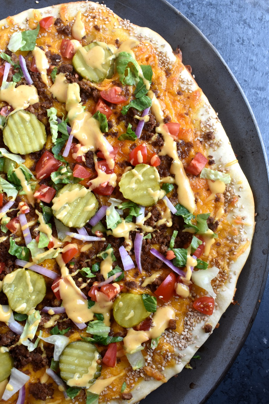 healthier cheeseburger pizza