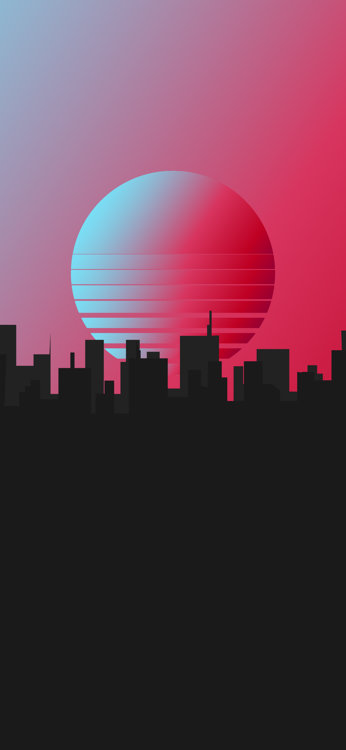 Aesthetic synth retro wave city silhouette buildings wallpaper for phone