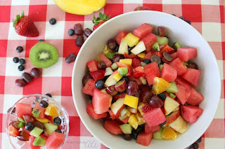 delicious fruit salad in a rainbow of colors