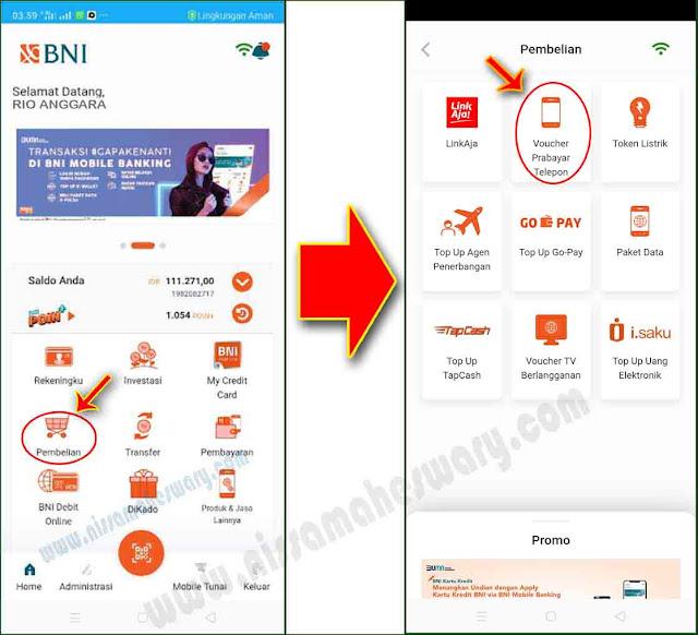 cara beli pulsa listrik di mobile banking bni