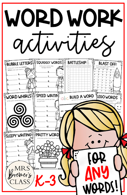 Spelling and Word Work activities to practice ANY words! Use during spelling lessons, word work activities, literacy centers, Daily 5 in K-3