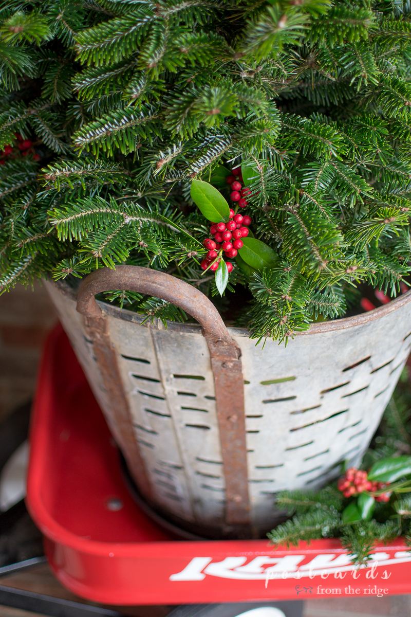 The tree looks so pretty in the olive basket and the wagon is perfect! Lots of other great ideas on this site.