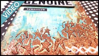 glittery stars art journal page