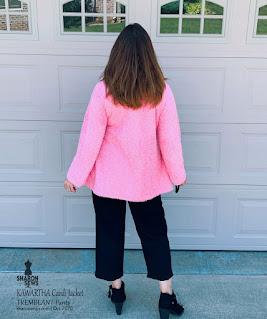 Kawartha Cardi Jacket in Pink Shearling Knit worn by Sharon Sews Back View