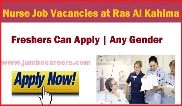 Nursing jobs for freshers UAE 2018, Nursing jobs at Ras Al Khima,
