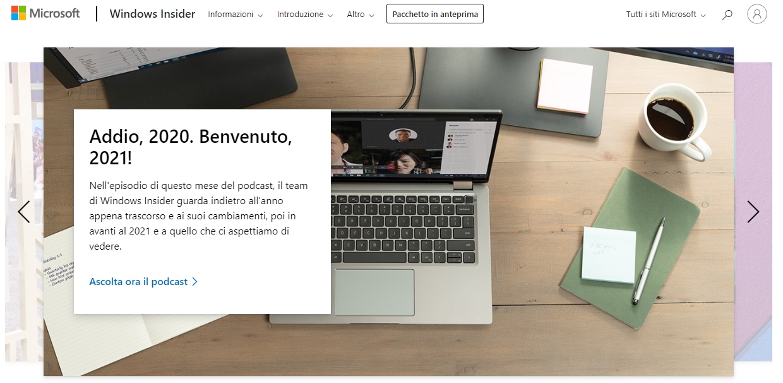 Il sito del Programma Windows Insider adesso in italiano