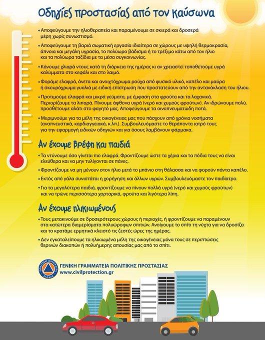 Οδηγίες της Γενική Γραμματεία Πολιτικής Προστασίας ενόψει της αισθητής ανόδου της θερμοκρασίας στη χώρα
