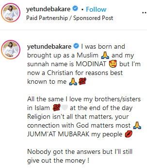 y2 - Actress Yetunde Bakare coverts from Islam to Christianity