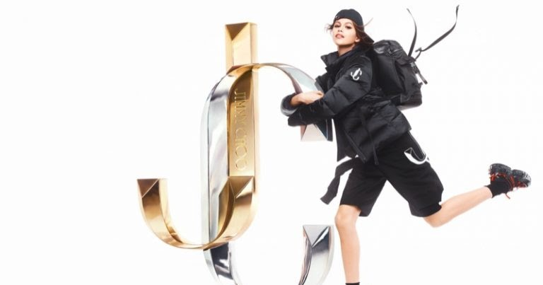 Kaia Gerber poses for the Jimmy Choo Fall/Winter 2019 Campaign